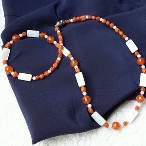 """Vtg Art Deco MOP Shell and Glass Bead Necklace 21"""""""
